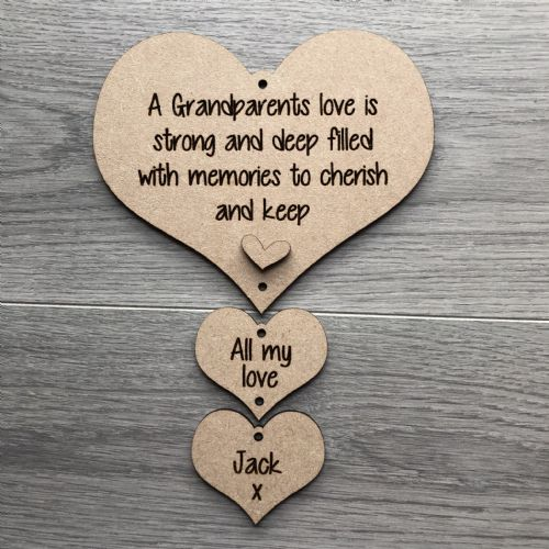 Grandparents love hanging hearts MDF Unpainted